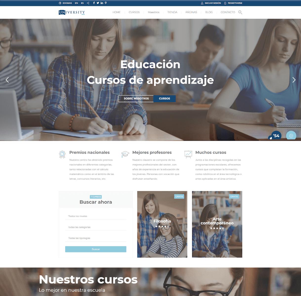 página web academias