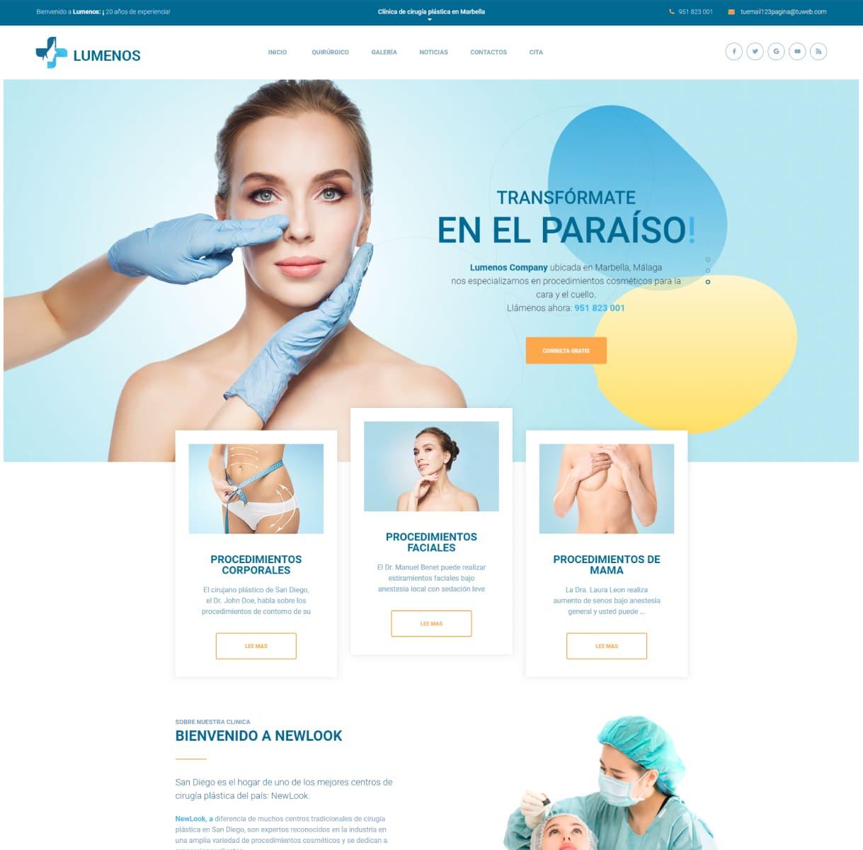 página web estética